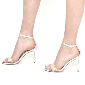 Auth CHARLES DAVID Silver & Transparent Sandals